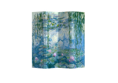 Fine Asianliving Fine Asianliving Kamerscherm 4 Panelen Waterlelies Claude Monet L160xH180cm