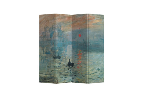 Fine Asianliving Biombo Separador de Lienzo 4 Paneles Monet Sol Naciente Anch.160 x Alt.180 cm