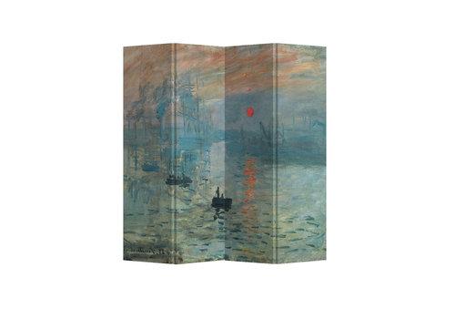 Fine Asianliving Biombo Separador de Lienzo A160xA180cm 4 Paneles Monet Sol Naciente