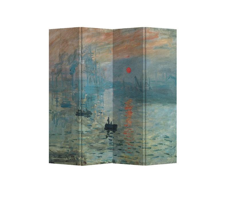 Kamerscherm Scheidingswand 4 panelen Zonopkomst Claude Monet L160xH180cm