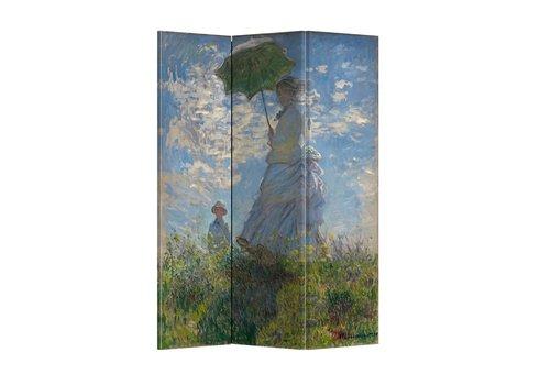 Fine Asianliving Fine Asianliving Kamerscherm Scheidingswand 3 panelen Paraplu Claude Monet L120xH180cm