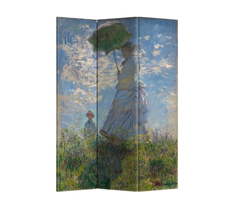 PREORDER 21/09 Fine Asianliving Kamerscherm Scheidingswand 3 panelen Paraplu Claude Monet L120xH180cm