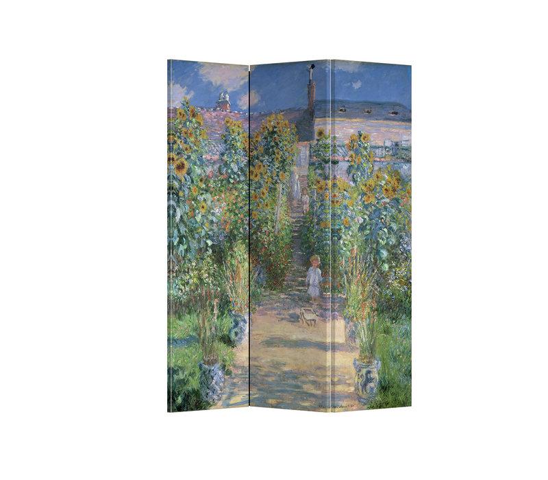 PREORDER 21/09 Fine Asianliving Kamerscherm Scheidingswand 3 panelen Monet's Tuin in Vetheuil L120xH180cm