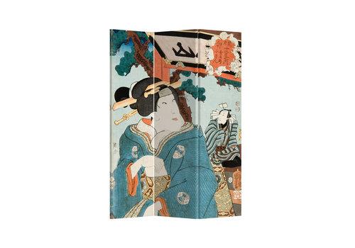 Fine Asianliving Paravent en Toile L120xH180cm 3 Panneaux Femme Japonaise