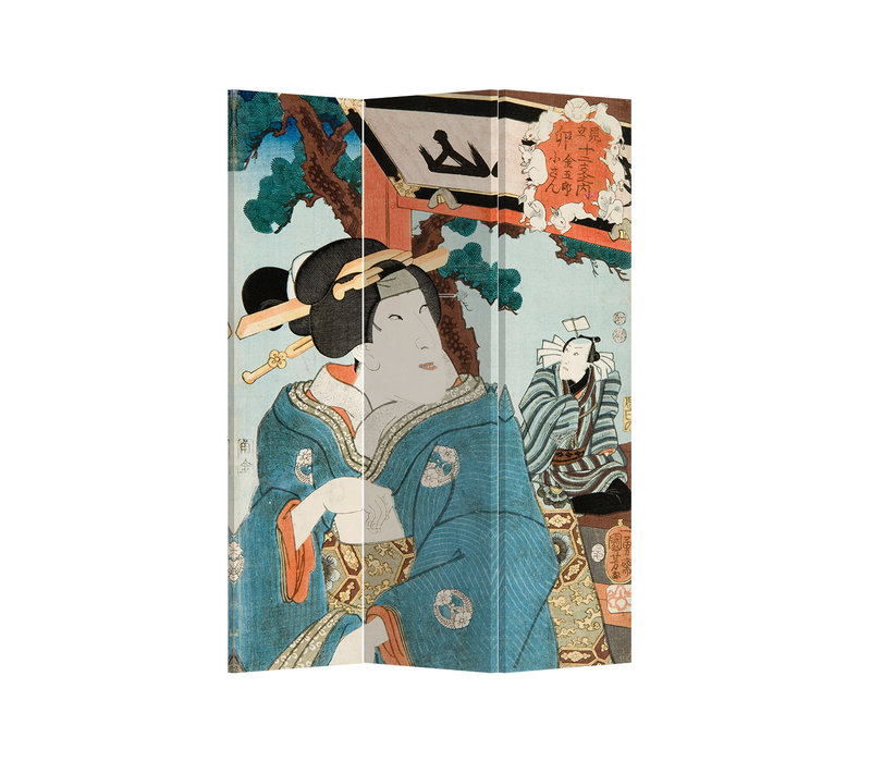 Fine Asianliving Biombos Separador de Habitaciones 3 Paneles Lona De Doble Cara Japanese Woman L120xH180cm