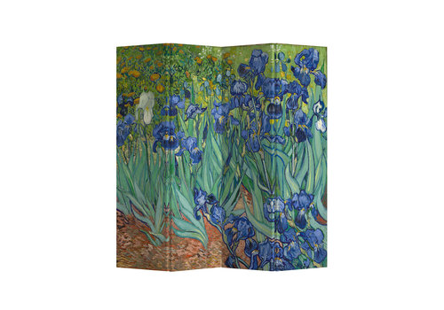 Fine Asianliving Fine Asianliving Room Divider Privacy Screen L160xH180cm 4 Panel Irises Van Gogh