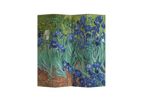 Fine Asianliving Room Divider Privacy Screen L160xH180cm 4 Panel Irises Van Gogh