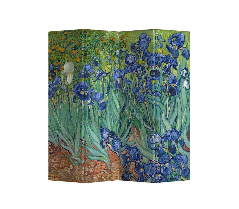 PREORDER 21/09 Fine Asianliving Room Divider Privacy Screen L160xH180cm 4 Panel Irises Van Gogh