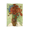 Fine Asianliving Fine Asianliving Room Divider L120xH180cm 3 Panel Vase with Red Poppies and Daisies 1890 Vincent Van Gogh