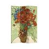 Fine Asianliving Kamerscherm Scheidingswand B120xH180cm 3 Panelen Vaas met Rode Klaprozen en Madeliefjes 1890 Vincent van Gogh