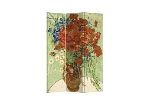 Fine Asianliving Fine Asianliving Kamerscherm Scheidingswand 3 panelen Vaas met Rode Klaprozen en Madeliefjes 1890 Vincent van Gogh L120xH180cm