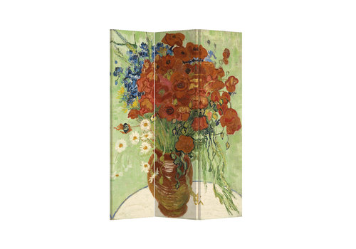 Fine Asianliving Room Divider L120xH180cm 3 Panel Vase White Red Poppies and Daisies 1890 Vincent Van Gogh