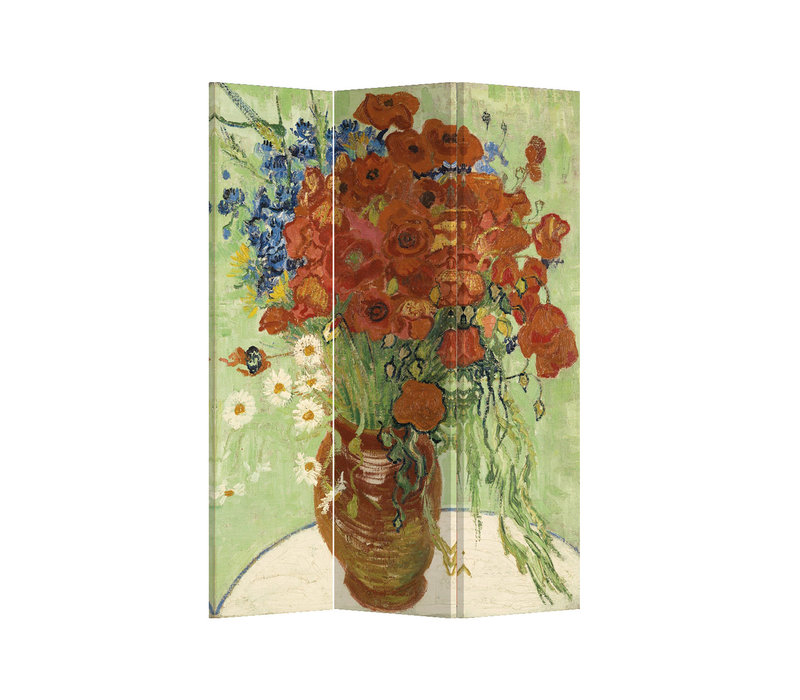 Fine Asianliving Room Divider L120xH180cm 3 Panel Vase with Red Poppies and Daisies 1890 Vincent Van Gogh