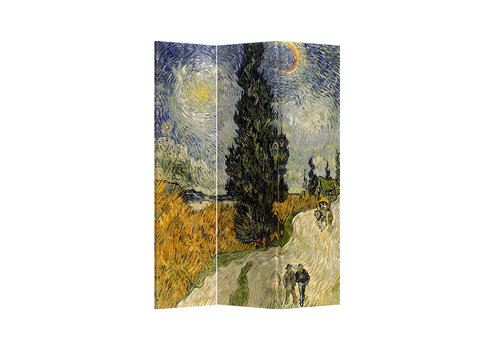 Fine Asianliving Room Divider W120xH180cm 3 Panel Van Gogh Road with Cypress and Star