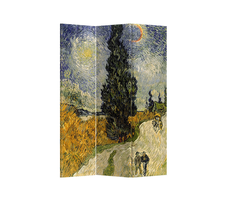 Room Divider W120xH180cm 3 Panel Van Gogh Road with Cypress and Star