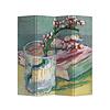 Fine Asianliving Fine Asianliving Kamerscherm 4 Panelen Bloeiende Amandeltak in een Glas met een Boek 1888 van Gogh L160xH180cm