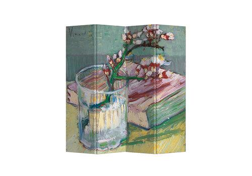 Fine Asianliving Paravent sur Toile 4 panneaux Van Gogh Branche d'Amandier en Fleurs dans un Verre avec un Livre L160xH180cm