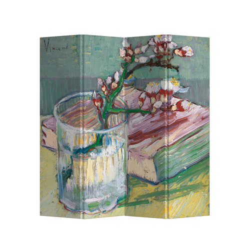 Fine Asianliving Room Divider W160xH180cm Blossoming Almond Branch in a Glass with a Book 1888 Van Gogh