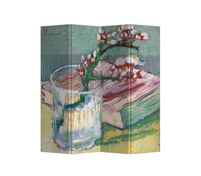 Paravent Raumteiler Trennwand 4-teilig Van Gogh Blühender Mandelzweig im Glas und Buch B160xH180cm
