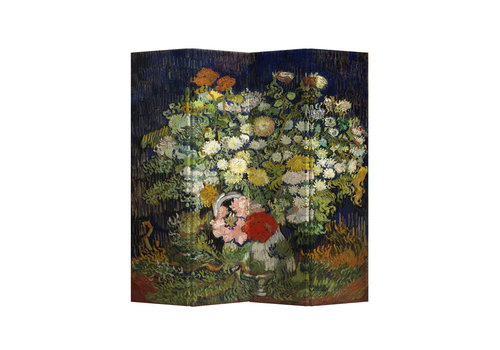 Fine Asianliving Fine Asianliving Room Divider Privacy Screen 4 Panel Still Life with Flowers van Gogh L160xH 180cm
