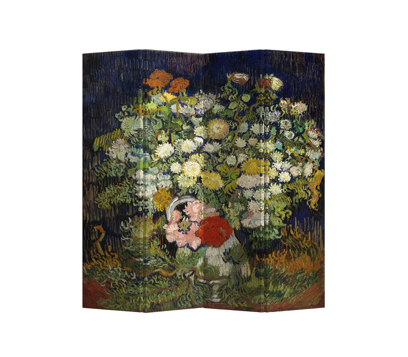 Fine Asianliving Room Divider Privacy Screen 4 Panel Still Life with Flowers van Gogh L160xH 180cm