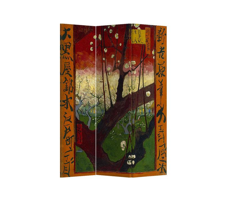 Fine Asianliving Kamerscherm Scheidingswand 3 panelen Flowering Plum Tree van Gogh L120xH180cm