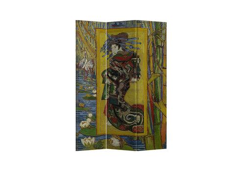 Fine Asianliving Biombo Separador de Lienzo 3 Paneles Van Gogh Cortesana Anch.120 x Alt.180 cm