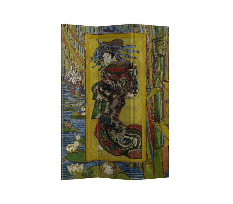 Kamerscherm Scheidingswand 3 panelen De Courtisane naar Eisen van Gogh Inspiratie Japan L120xH180cm