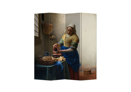 Fine Asianliving Divisorio 4 pannelli The Milkmaid Vermeer L160xH180cm