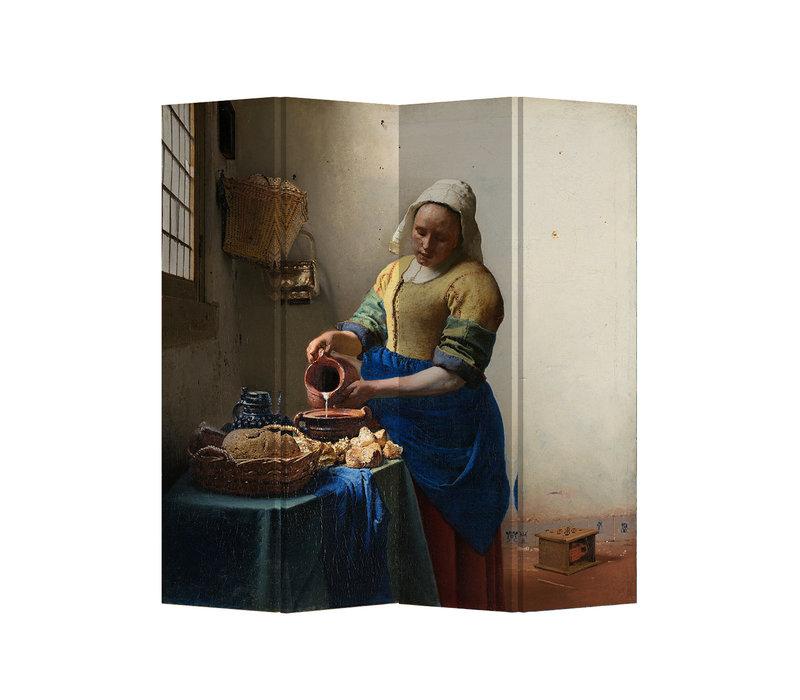 Fine Asianliving Separador de ambientes 4 Paneles The Milkmaid Vermeer L160xH180cm