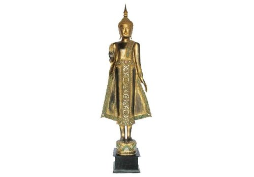 Fine Asianliving Lanna Standing Buddha on Lotus Black Gold Full Mirror inlay Handmade from Solid Tree Trunk L65xW35xH178cm