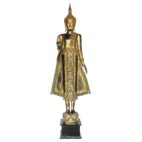Lanna Standing Buddha on Lotus Black Gold Full Mirror inlay Handmade from Solid Tree Trunk L65xW35xH178cm