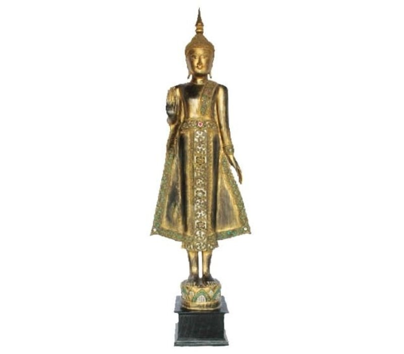 Lanna Standing Buddha on Lotus Black Gold Full Mirror inlay Handmade from Solid Tree Trunk L65xW35xH178cm