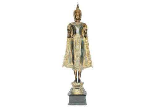 Fine Asianliving Sukhothai Standing Buddha Black Gold Handmade from Solid Tree Trunk L30xW30xH195cm
