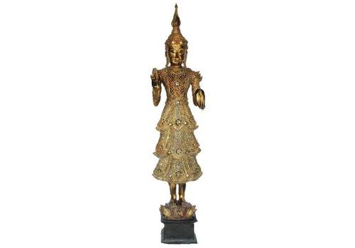 Fine Asianliving Shan Royal Standing Thai Buddha Full Gold Mirror L55xB33xH193cm