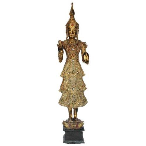 Shan Royal Standing Thai Buddha Full Gold Mirror L55xB33xH193cm