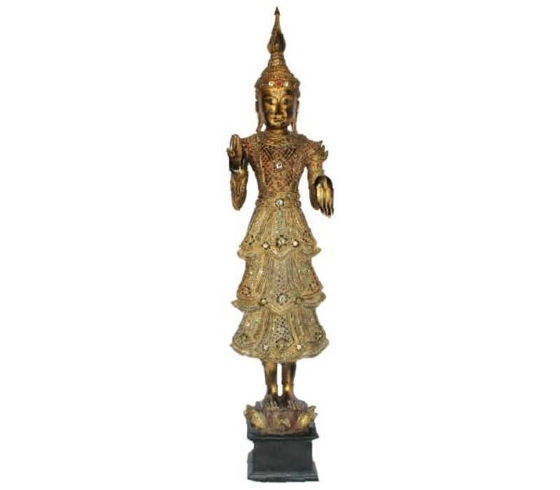 Shan Royal Standing Thai Buddha Full Gold Mirror L55xB33xH193cm
