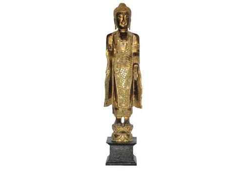Fine Asianliving Japanese Buddha Standing Black Gold Handmade from Solid Tree Trunk L30xW20xH120cm