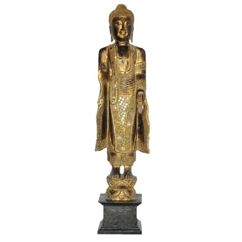Japanese Buddha Standing Black Gold Handmade from Solid Tree Trunk L30xW20xH120cm