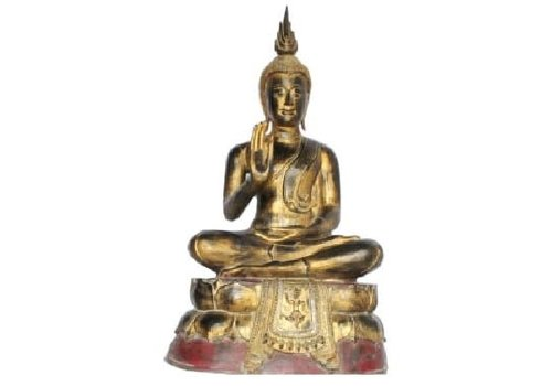 Fine Asianliving Sukhothai Sitting Buddha Black Red Gold Handmade from Solid Tree Trunk L75xW40xH92cm