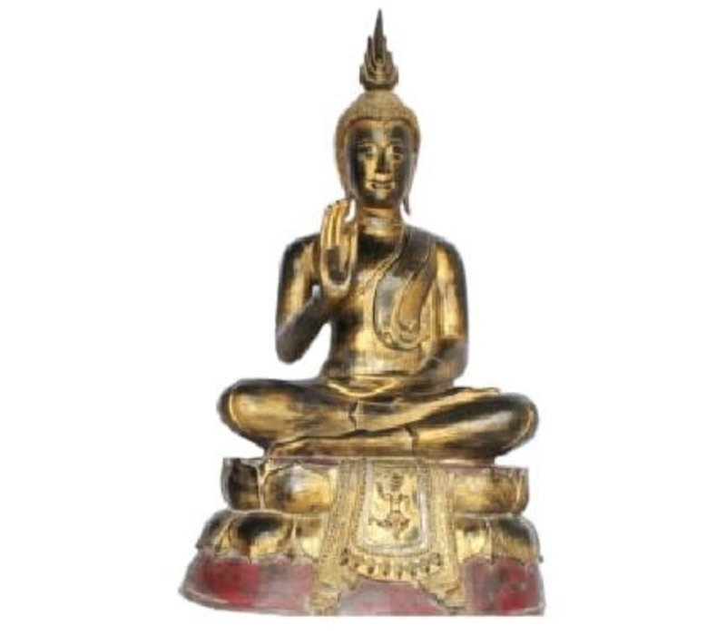 Sukhothai Sitting Buddha Black Red Gold Handmade from Solid Tree Trunk W75xD40xH92cm