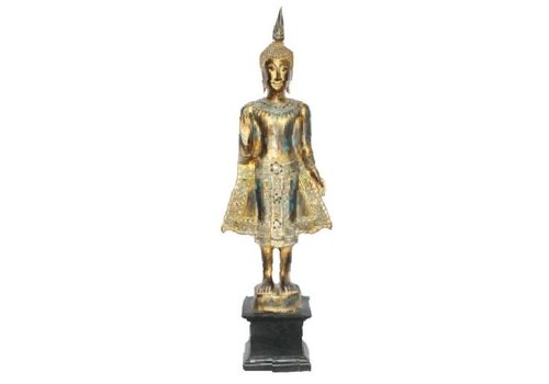 Fine Asianliving SukhoThai Standing Buddha Black Blue Gold Handmade from Solid Tree Trunk L35xW20xH110cm