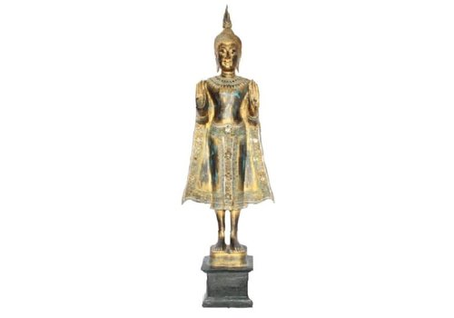 Fine Asianliving SukhoThai Standing Buddha Handmade from Solid Tree Trunk Black Gold Blue L35xW20xH140cm
