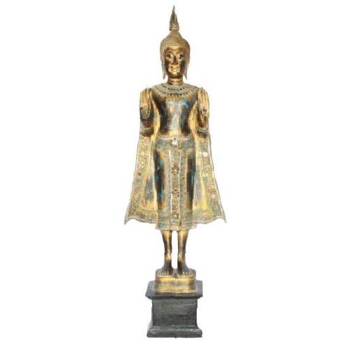 SukhoThai Standing Buddha Handmade from Solid Tree Trunk Black Gold Blue L35xW20xH140cm