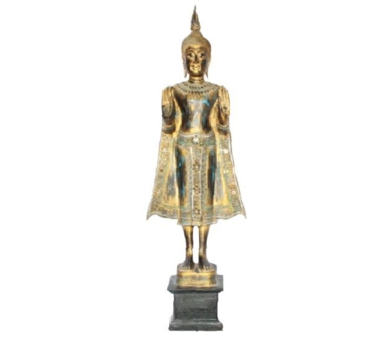 SukhoThai Standing Buddha Handmade from Solid Tree Trunk Black Gold Blue L35xW20xH140cm