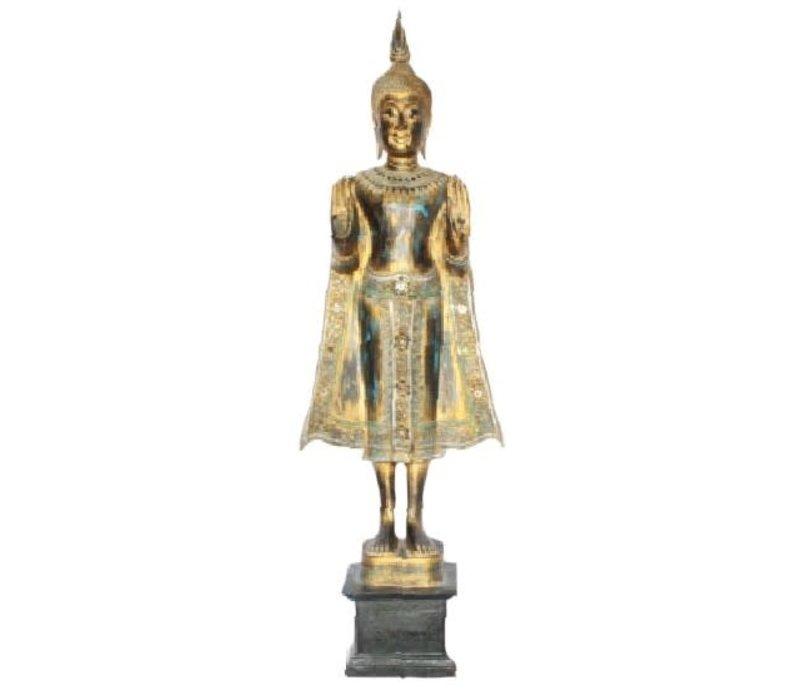 SukhoThais Staande Buddha Handgemaakt Van Stevige Boomstam Zwart Goud Blauw L35xW20xH140cm