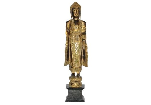 Fine Asianliving Japanese Buddha Standing L60xW20xH140cm Handmade from Solid Tree Trunk