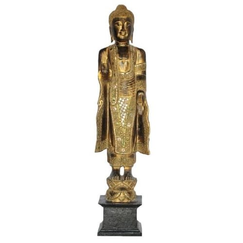 Japanese Buddha Standing L60xW20xH140cm Handmade from Solid Tree Trunk