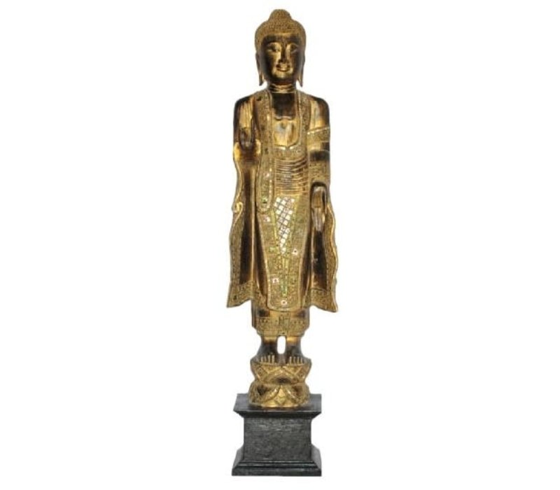 Japanese Buddha Standing W60xD20xH140cm Handmade from Solid Tree Trunk