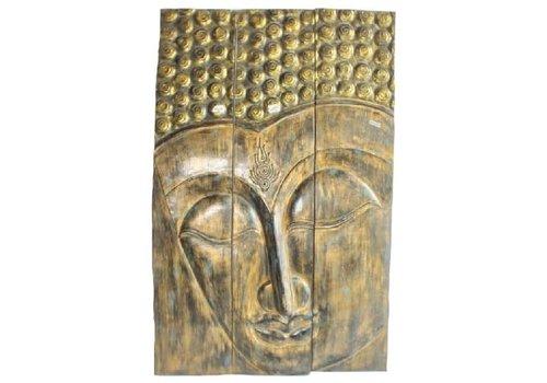 Fine Asianliving Thaise Buddha Paneel Handgemaakt Van Stevige Boomstam L90xH140cm